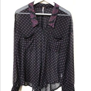 Free People Womens Floral Button Down Sheer Top